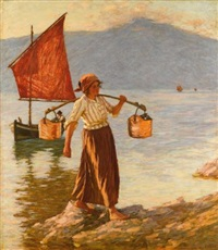 fetching water from lake garda by henry herbert la thangue