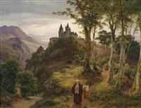 romantische landschaft mit klosteranlage by karl friedrich lessing