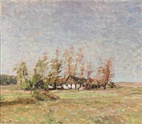 landscape with a farm by julius paulsen
