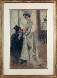 homme en haut-de-forme, agenouillé devant une jeune femme à la pivoine by antoine guillaume (tony) minartz