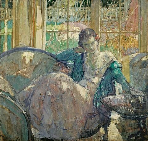 young woman seated on sofa (+ seated young woman, verso) by richard edward miller
