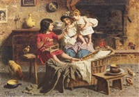 mother and children by the hearth by eugenio zampighi