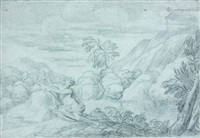 paysage avec une nymphe au bord de l'eau by michel corneille the younger