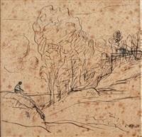 personnage dans un paysage by jean-baptiste-camille corot