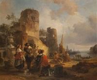vue d'un port animé d'une compagnie au repos près de ruines by jean (jan) michael ruyten