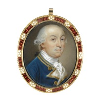 portrait of commodore edward thompson wearing a blue uniform with white and gold braid by thomas day