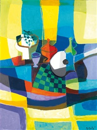 guitare et compotier blanc by marcel mouly
