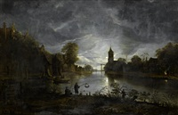 a moonlit river landscape with fishermen on a shore and a village in the distance by anthonie van borssom