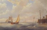 segelboot vor niederländischer mole by johann baptist weiss