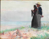 a fisher from skagen and his wife standing on the beach by michael peter ancher