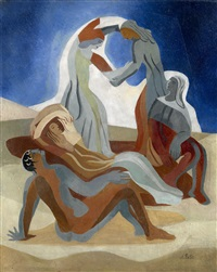 dancers on a beach by alexandra exter