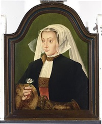 a portrait of a lady wearing a red dress, white chemise, a black fur-lined coat and a white headdress, holding a carnation by bartholomäus (barthel) bruyn the younger
