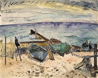 boote am strand. vitte by erhard hippold