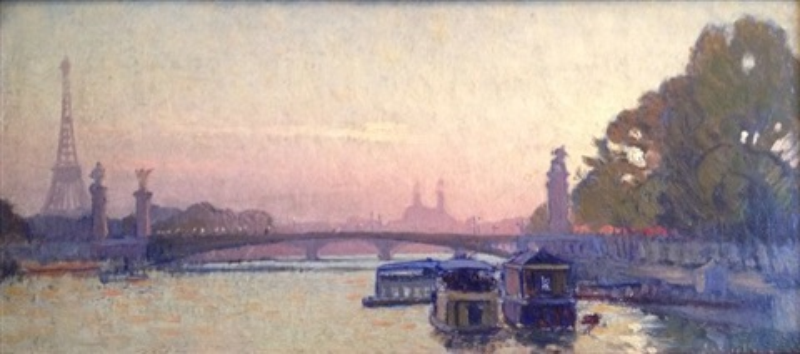 vue de la tour eiffel, quai de seine et pont de paris by charles victor guilloux
