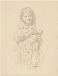 fillette et enfant by william adolphe bouguereau
