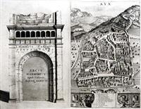 ayx et arcus marmoreus apud castrum aquar sabaud (from theatrum statuum regiae celestudinis sabaudiae ducis) by johannes de broen