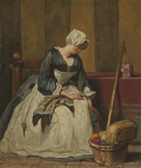 the embroiderer by jean baptiste siméon chardin