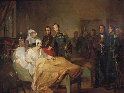 crown prince willem of the netherlands visiting the wounded at a military hospital by nicaise de keyser