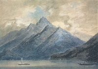 mountains overlooking a lake by john robert cozens