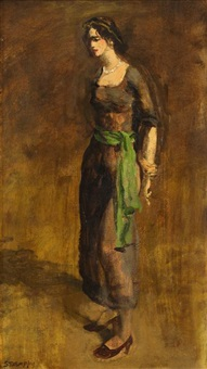 standing woman with a green sash by walter stuempfig