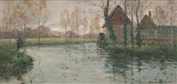 paysage au moulin by paul emile lecomte