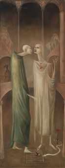 the magus zoroaster meeting his own image in the garden (brothers in babylone) by leonora carrington
