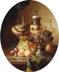 grapes, peaches, plums and other fruit with urns on a ledge by jean laurent
