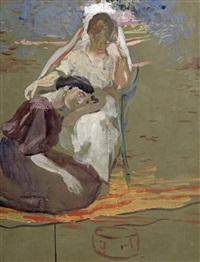 deux femmes assises dans un parc by albert besnard