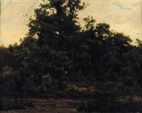 paysage de forêt by gustave allemand