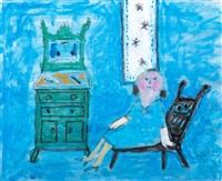 woman in blue room by jan roëde