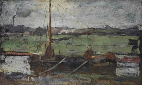 polder with moored boat near amsterdam i by piet mondrian