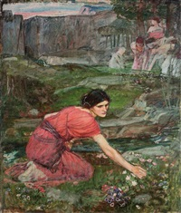 maidens picking flowers by a stream (study) by john william waterhouse
