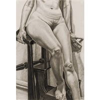 model on library ladder by philip pearlstein