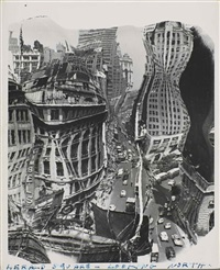 herald square - looking north (distortion), new york by weegee