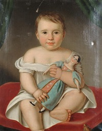 portrait of a girl seated on a red cushion holding a wooden doll by b. fischer