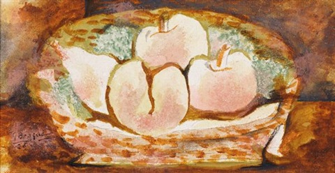 corbeille de pêches by georges braque