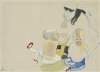 margaret and the evans twins by alice neel