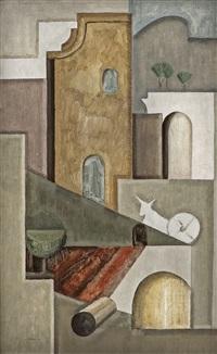 komposisjon med arkitektur og esel. fra provence by ragnhild keyser