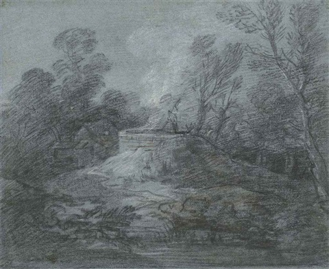 wooded landscape with a figure limekiln and farm buildings by thomas gainsborough