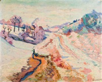 crozant, vieux chemin, petite neige (1906) by armand guillaumin