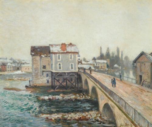 le pont de moret et les moulins effet dhiver by alfred sisley