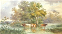 cattle watering by a river bank by henry earp