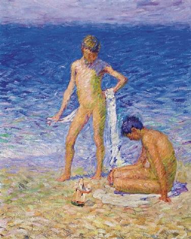 les enfants du peintre sur la plage, belle ile (the artist's children on the beach, belle ile) by john peter russell