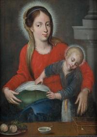 madonna mit kind, davor teller mit obst, schale und vogelkäfig by hans rottenhammer the elder