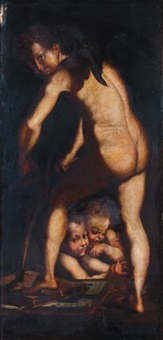 cupidon fabriquant son arc by parmigianino