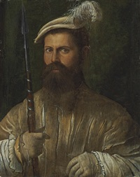 portrait of a halberdier by nicolo dell' abbate