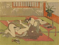 chuban yoko-e, amants allongés s'étreignant à côté d'une table basse by isoda koryusai