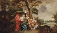 a pastoral landscape with an elegant company making music by theodor van thulden