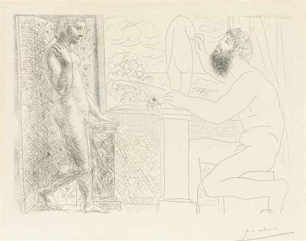 sculpteur et son modèle devant une fenêtre from la suite vollard by pablo picasso