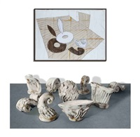 sculpture: ideal standard forms (ornamental version) (in 9 parts) (+ we are time, ink and emulsion on paper, smllr; 2 works) by edward allington